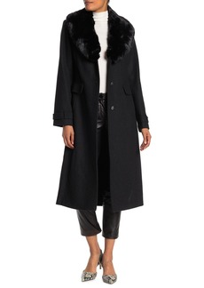 Vince Camuto Faux Fur Shawl Collar Wool Coat