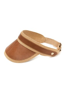 Vince Camuto Faux Leather & Straw Visor