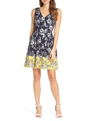 Vince Camuto Floral Print Pleated Fit & Flare Dress