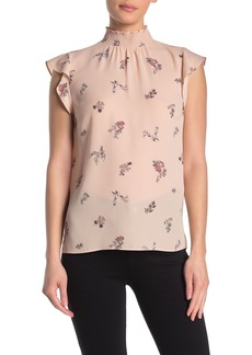 Vince Camuto Floral Smocked Mock Neck Ruffle Cap Sleeve Blouse