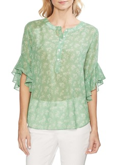 Vince Camuto Flutter Sleeve Print Top