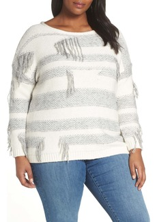 Vince Camuto Fringe Detail Stripe Cotton Blend Sweater (Plus Size)