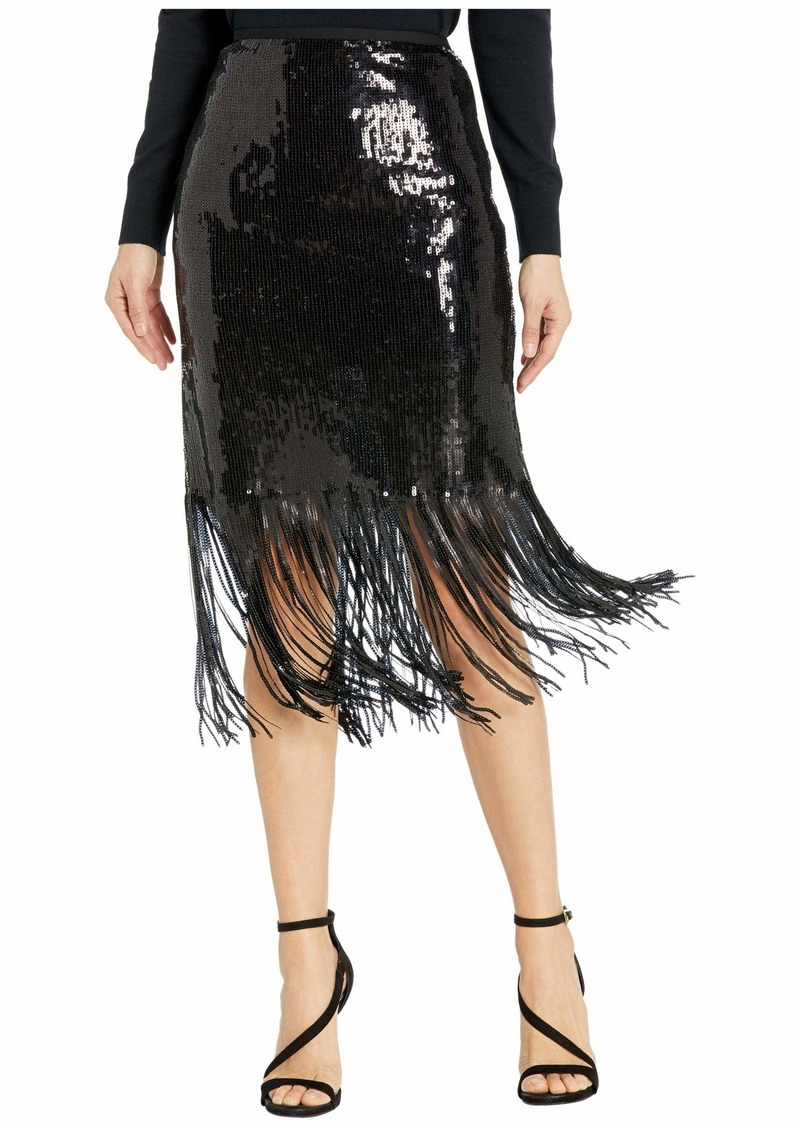 Vince Camuto Fringe Sequin Side Zip Skirt