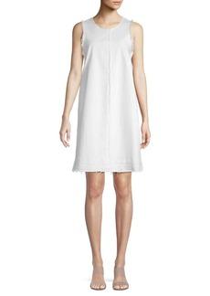 Vince Camuto Fringe-Trimmed Cotton Blend Mini Shift Dress