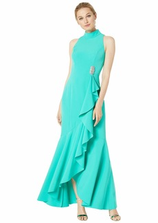 Vince Camuto Halter Neck Sleeveless Gown with Ruffle Details