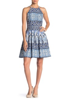 Vince Camuto Halter Printed Fit & Flare Scuba Dress