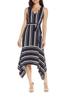 Vince Camuto Handkerchief Hem Stripe Crepe Dress