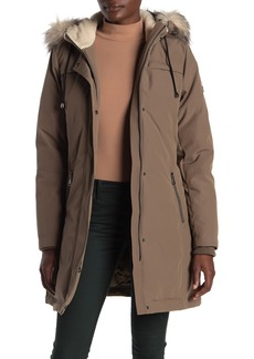 Vince Camuto Heavyweight Faux Fur Trim & Lined Hooded Down Coat