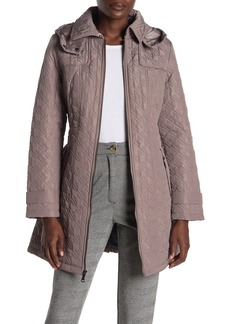 Vince Camuto Hooded Belted Water Resistant Quilted Coat