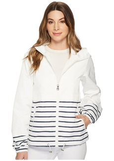 Vince Camuto Hooded Short Parka with Contrast Stripes