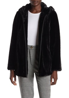 Vince Camuto Hooded Zip Front Faux Fur Jacket