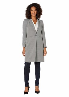 Vince Camuto Houndstooth Notch Collar Topper Coat