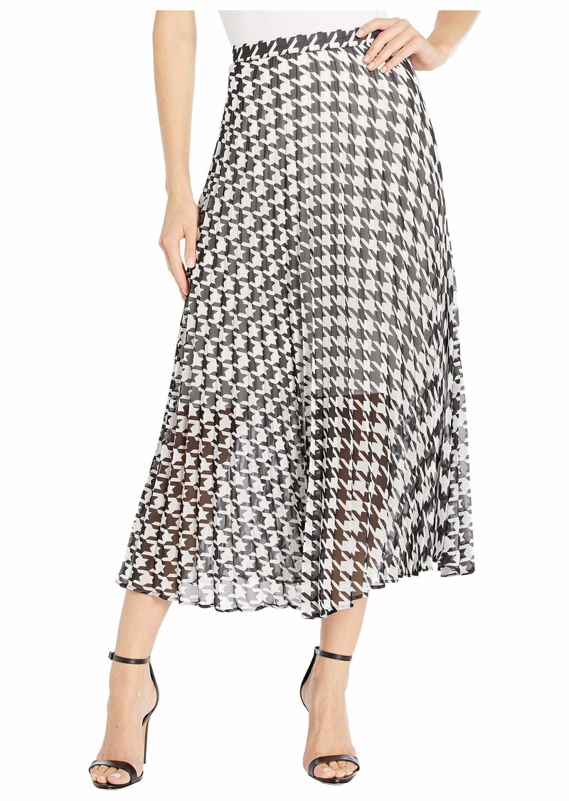 Vince Camuto Houndstooth Pleated Midi Skirt