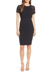 Vince Camuto Illusion Short Sleeve Crepe & Chiffon Dress