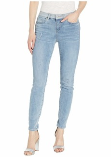 Vince Camuto Indigo Five-Pocket Skinny Jeans with Contrast Band in Spectrum Blue