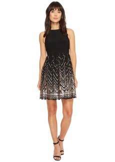 Vince Camuto Ity/Sequin Sleeveless Twofer Fit and Flare Dress