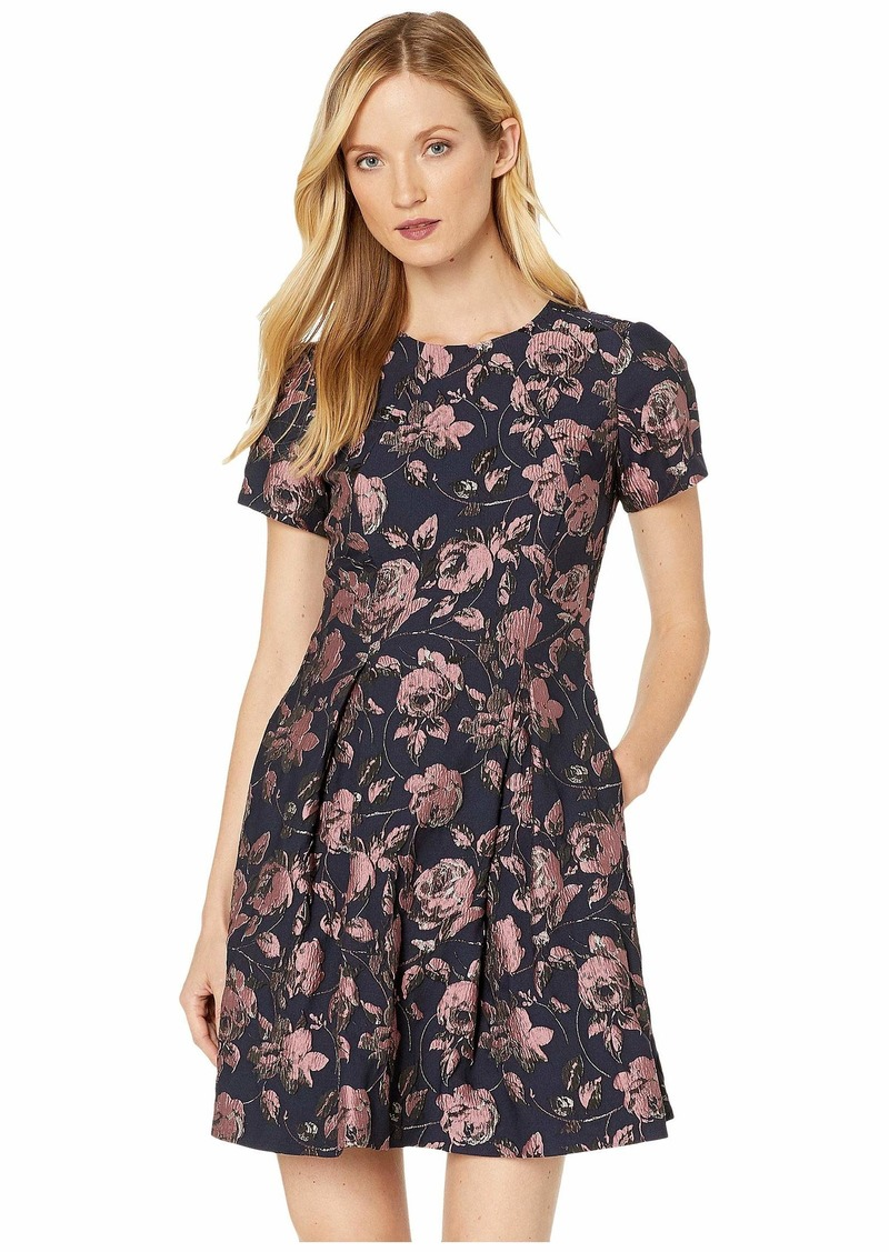 Vince Camuto Jacquard Short Sleeve Fit-and-Flare Dress
