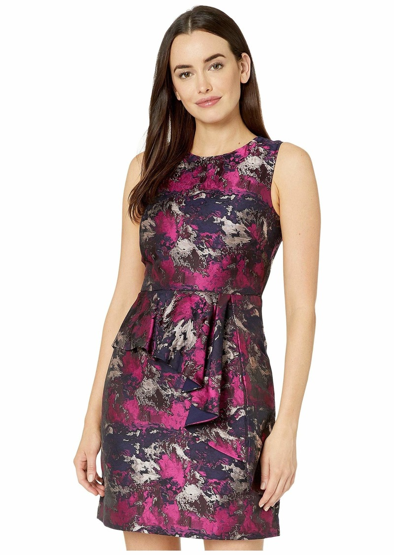 Vince Camuto Jacquard Sleeveless Dress w/ Front Ruffle