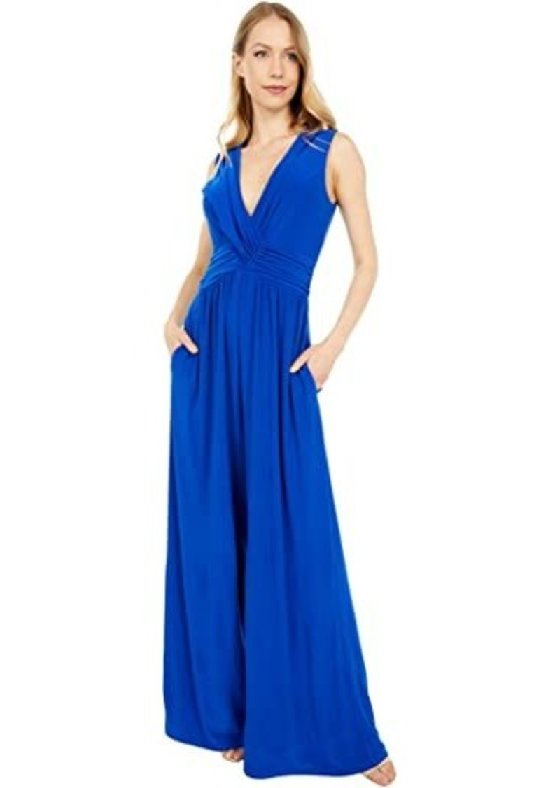 Vince Camuto Jersey Shirring Wrap Front Jumpsuit