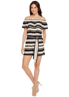 Vince Camuto Kalai Stripe Off Shoulder Belted Romper