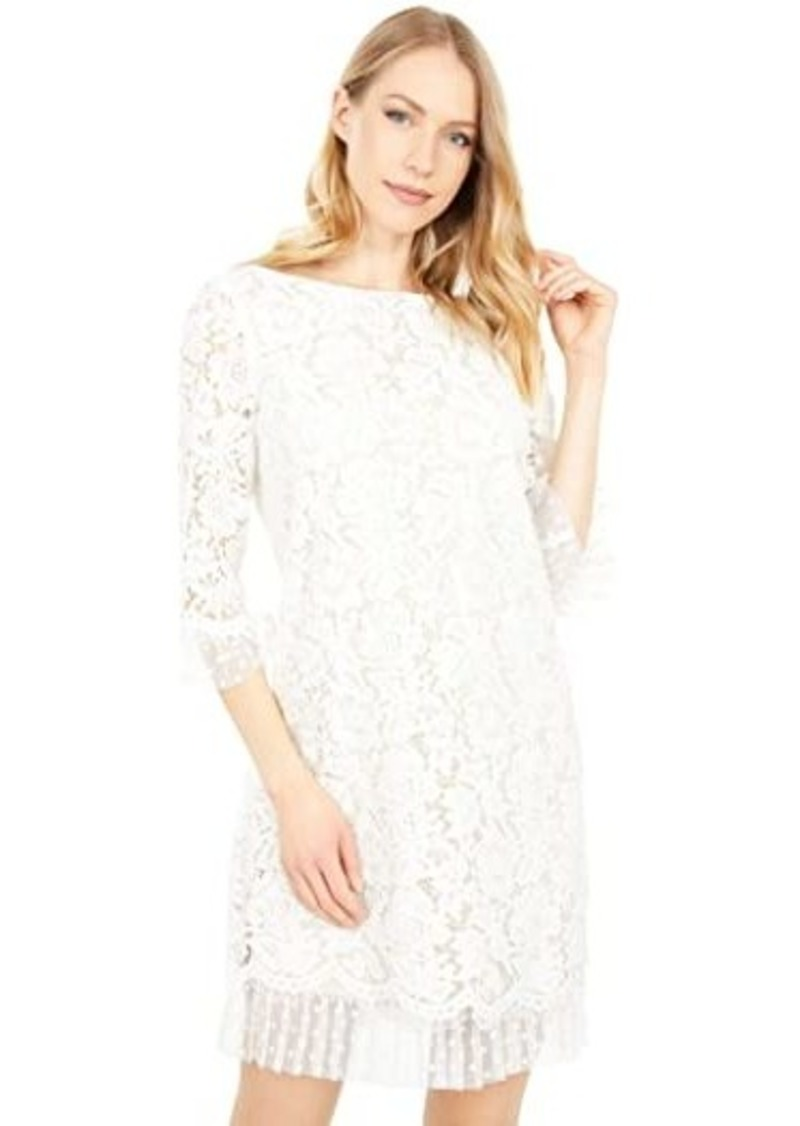 Vince Camuto Lace and Flock Dot Mesh 3/4 Sleeve Pleat Ruffle Shift Dress