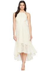 Vince Camuto Lace Halter High-Low Dress with Trim Inset at Bodice
