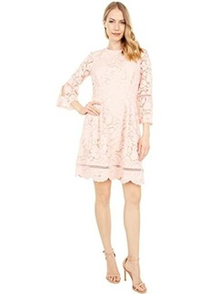Vince Camuto Lace Pinch Pleat Fit-and-Flare Dress