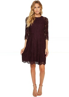 Lace Three Quarter Sleeve Fit & Flare Dress