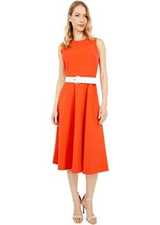 Vince Camuto Laguna Midi Fit-and-Flare with Contrast Belt