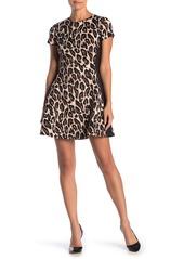 Vince Camuto Leopard Fit & Flare Scuba Dress (Petite)