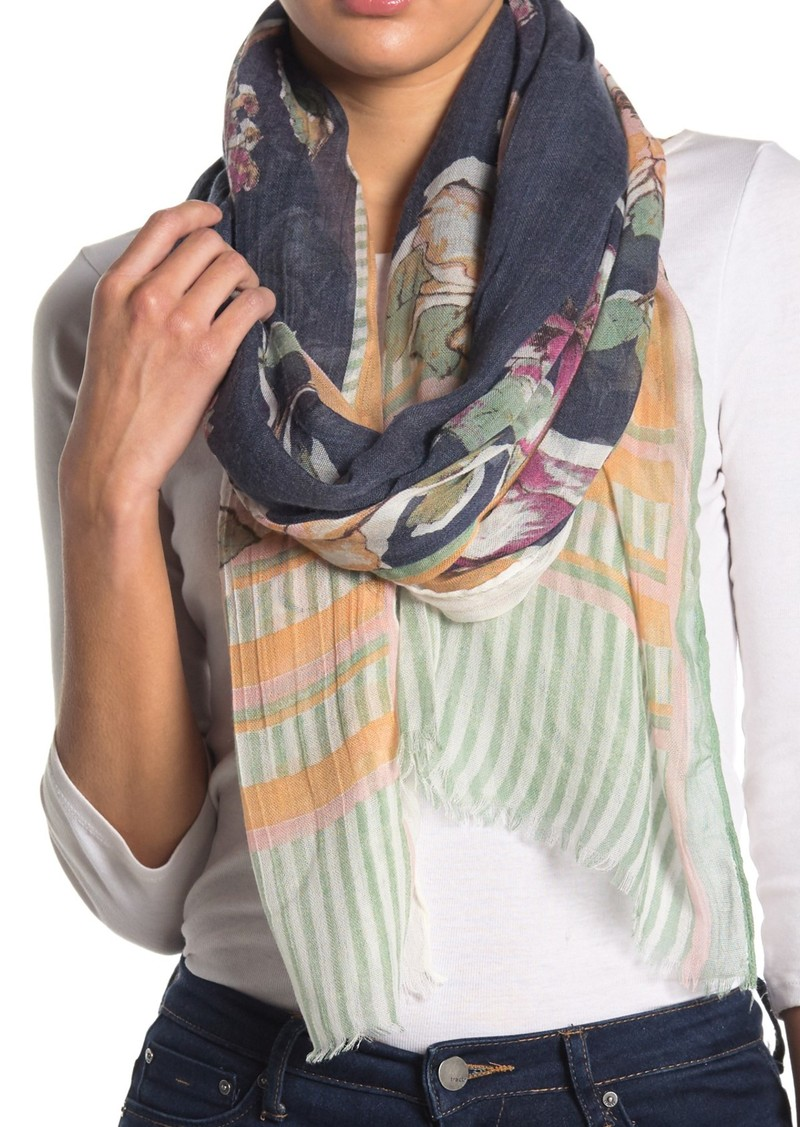 Vince Camuto Linear Floral Wrap Scarf