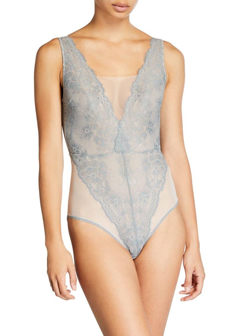 Vince Camuto Liza Floral Lace Bodysuit  Aerial
