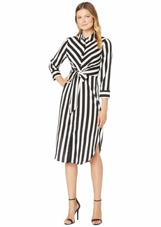 Vince Camuto Long Sleeve Bold Stripe Tie Front Shirtdress