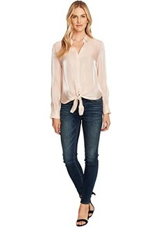 Vince Camuto Long Sleeve Button-Down Tie Front Iridescent Blouse