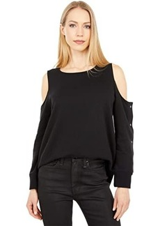 Vince Camuto Long Sleeve Cold-Shoulder Snap Top