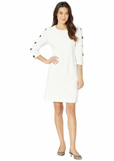 Vince Camuto Long Sleeve Crepe Ponte Dress w/ Sleeve Button Detail