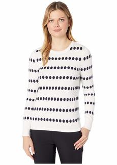 Vince Camuto Long Sleeve Dot Jacquard Crew Neck Sweater