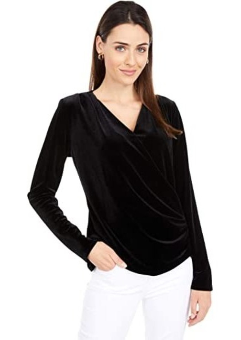 Vince Camuto Long Sleeve Faux Wrap Velvet Top