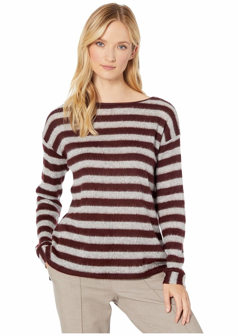 Vince Camuto Long Sleeve Fuzzy Stripe Boat Neck Mix Media Top
