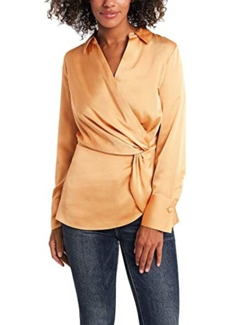 Vince Camuto Long Sleeve Hammer Satin Peplum Twist Blouse