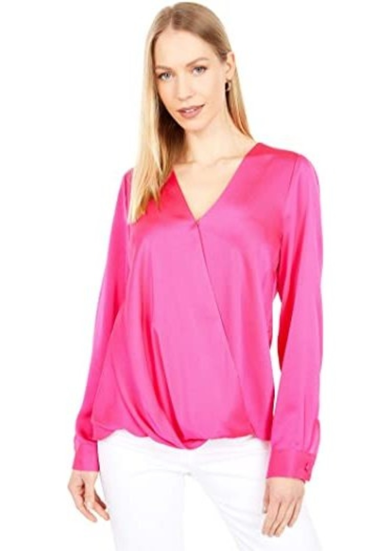 Vince Camuto Long Sleeve Hammer Satin Wrap Front Blouse