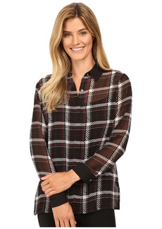 Vince Camuto Long Sleeve Harbor Plaid Button Front Blouse