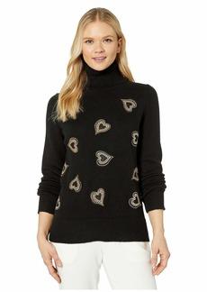Vince Camuto Long Sleeve Heart Embellished Turtleneck Sweater