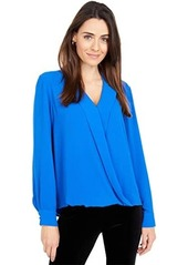Vince Camuto Long Sleeve Notch Collar Faux Wrap Top