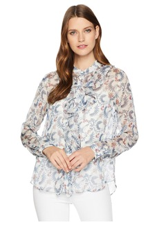 Vince Camuto Long Sleeve Ruffle Front Boutique Floral Blouse
