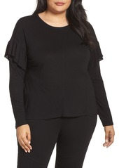 Vince Camuto Long Sleeve Ruffle Shoulder Top (Plus Size)