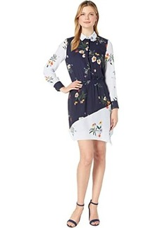 Vince Camuto Long Sleeve Surreal Garden Asymmetrical Hem Shirtdress