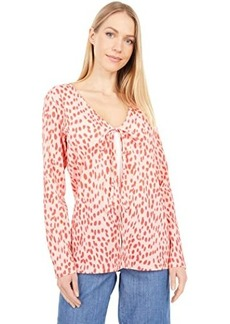 Vince Camuto Long Sleeve V-Neck Tie Front Animal Textured Knit Cardigan