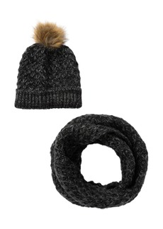 Vince Camuto Marled Tuck Stitch Beanie and Scarf Set