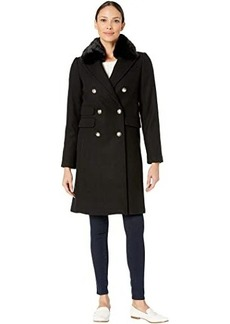 Vince Camuto Military Faux Fur Collar Wool Coat V29765